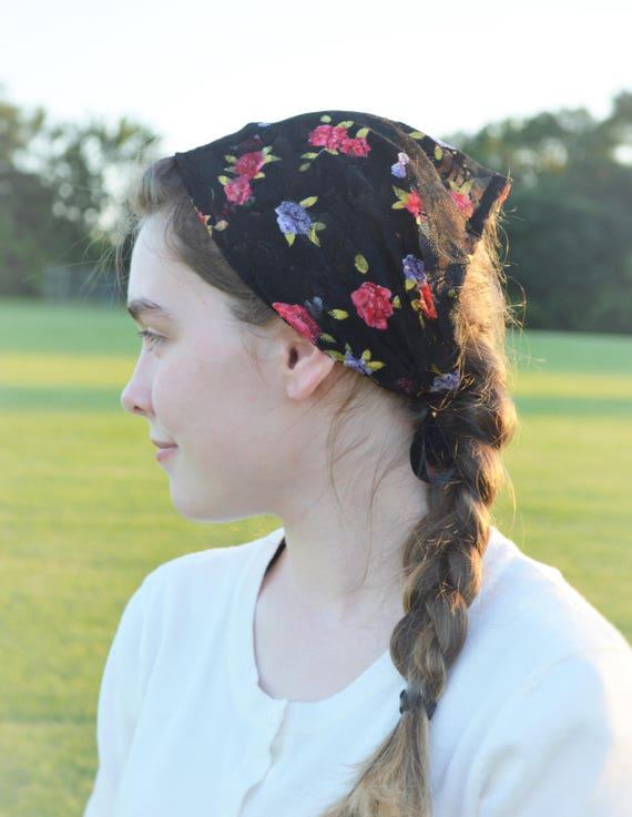 Soft Black Floral Lace Convertible Head Cover | Daily Veil Ties Ladies Christian Catholic Headband Traditional Latin Mass Mantilla