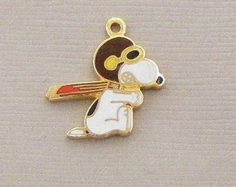Aviva Vintage Snoopy Flying Ace Brown Helmet Charm  Enamel Cloisonne 0050
