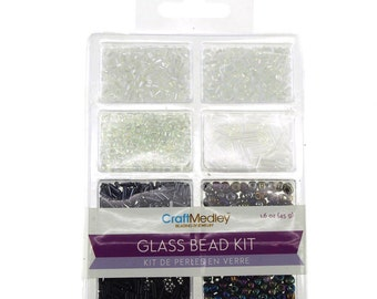 Loose Glass Beads Kit, Black and White, 45-gram
