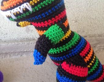 Rainbow T Rex, Striped Dinosaur, Tyrannosaurus Rex, Black Dinosaur, Primary Stripe Dino, Bright Dinosaur, Children's Gift, Dino Birthday Toy