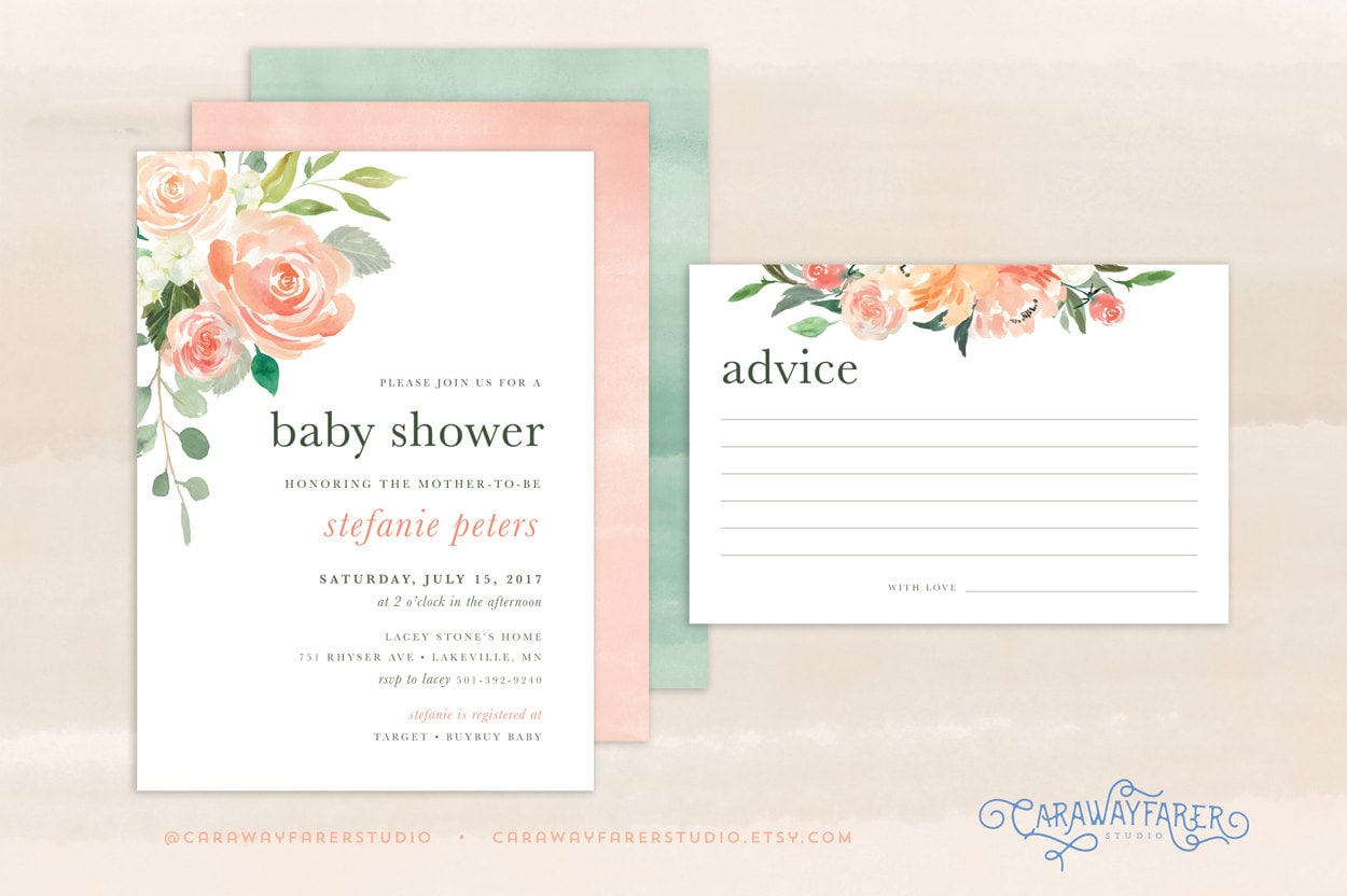 Spring Baby Shower Invitation Printable Girl Advice Card