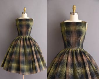 Vicky Vaughn 50s brown plaid chiffon full skirt vintage dress. 1950s dress