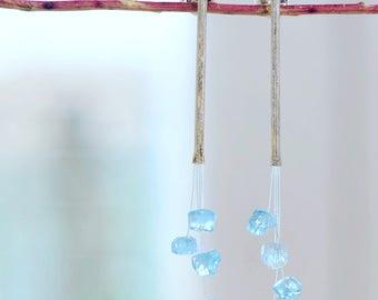 Pendientes hechos a mano en plata de ley y un ramillete de aguamarinas, pendientes románticos para boda