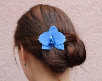 Royal blue hair flower Orchid hair pin Blue wedding floral hair accessory Orchid hair clip Polymer clay orchid hair piece Tropical flower