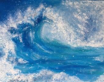 Original Acrylic Wave Painting 'Crash' 12x16