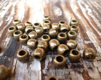 Bronze Solid Large Hole Metal Beads_ NG14791_Bronze metal Spacer of 5x4 mm hole 3 mm _ pack 50 pcs