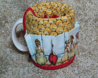 Coffee Caddy Desk Sewing Organizer Cozy For Mug or Goblet Pineapple Beach Ladies Fruit Crap Caddy