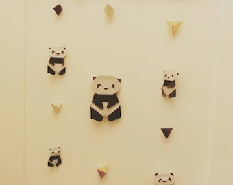 Baby mobile origami with 5 pandas, Christmas gift, birthday gift, baptism, child's room decoration,