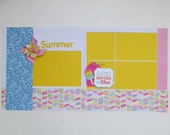 Summer Premade or DIY Kit,12x12 Scrapbook Layout, Scrapbook Page Kit, Project Life, Filofax