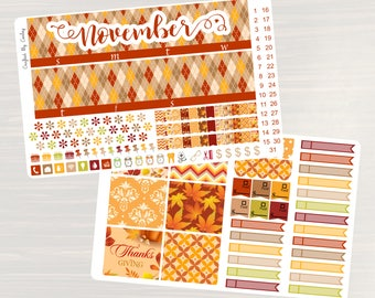 Give Thanks Monthly Sticker Set - Monthly Planner Stickers, Monthly Planner Kit, November Monthly Kit, use with ERIN CONDREN LifePlanner