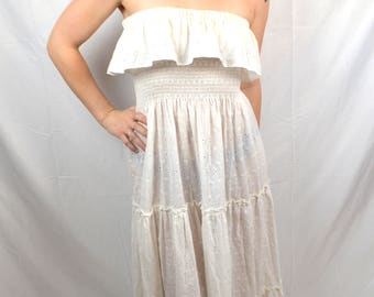 Vintage Strapless Eyelet Summer Cochella White Dress - For David Howard Climax Karen Okada