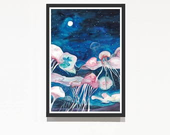 Jellyfishes flying on the sky | watercolor art print