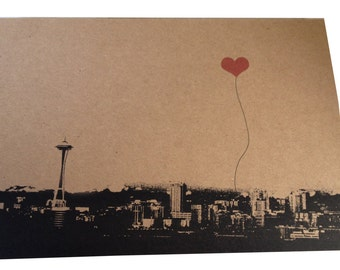 Heart in Seattle set of 8 blank note cards
