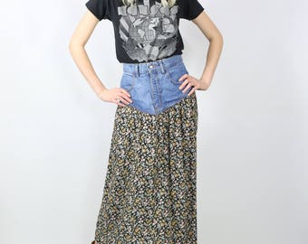 90s High-Waisted Denim Skirt with Floral Patchwork