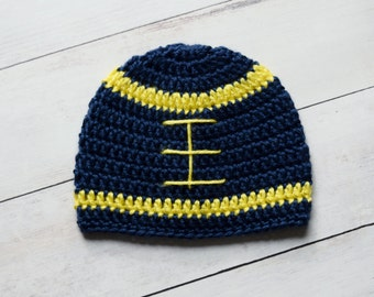 Blue and Yellow Crochet Football Beanie - Newborn Hat - Great Gift or Photo Prop
