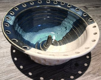 Ceramic Jewelry Bowl - Earring Bowl - Jewelry Organizer Speckled Cream  and Blue overlap In Stock Ships Now