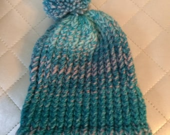Kids Beanie with Pom Pom Turquoise Multi