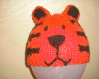 Child hat, Tiger or cat, orange and black acrylic and wool size 3/4 years