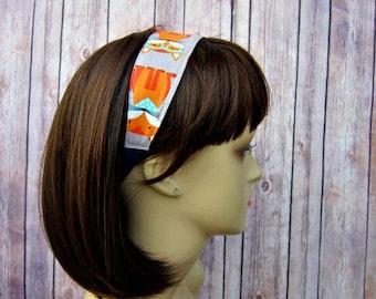 Reversible Headband - Headband for Women - Adult Headband - Womens Headband - Handmade Fabric Headband - Foxes on Gray