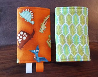 READY to ship protective pads for baby carrier straps - leafy Dinos
