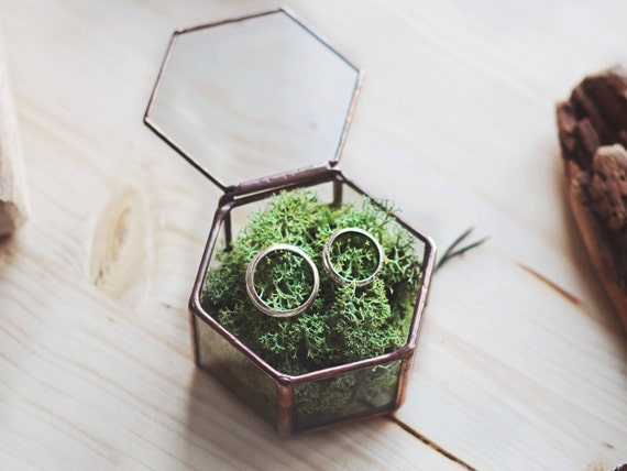 Wedding Ring Box Ring Bearer Box Geometric Ring Box Copper