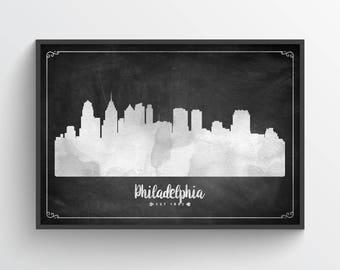 Philadelphia Skyline Poster, Philadelphia Cityscape, Philadelphia Decor, Philadelphia Art, Home Decor, Gift Idea, USPAPH03P