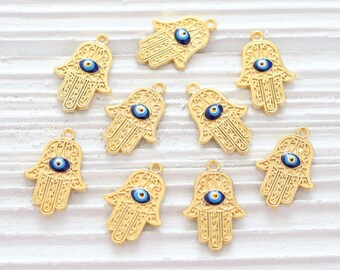 5pc Hamsa charm with evil eye, bracelet charms, evil eye charm, mini Hamsa, hand of Fatima, earring charms, gold charms, tiny Hamsa pendant
