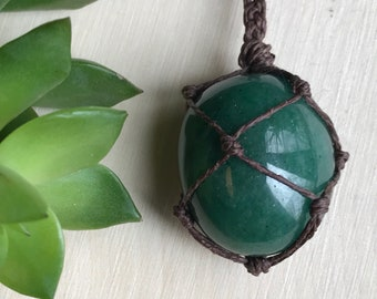 Green Fuschite Crystal Necklace - Fuschite Pendant - Crystal Jewelry - Hemp Wrapped Crystal Necklace - Hippie Style - Earthy Gypsy Jewelry