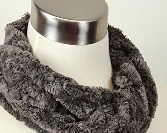 Gray Faux Fur Scarf -  Charcoal Grey Minky Scarf - Gray Faux Fur Cowl .
