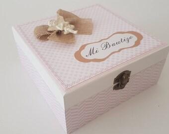 Mini Photo album + wooden box/christening/girl/handmade/Small photo album + wooden box/Christening/girl/hand made.