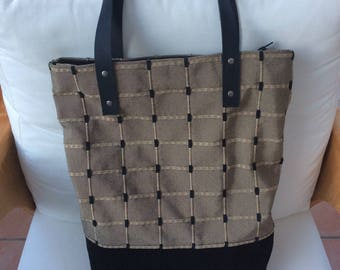 Shoulder Bag, Tote Bag, Womens Bag, Recycled Textile, Eco Friendly, Leather Strap, unique, One Off, Handmade