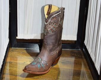 Tony Lama Women's Vaquero Rancho Cowboy Boots with Swarovski Crystals