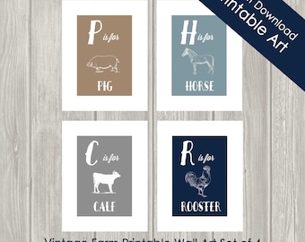 Printable Childrens Wall Art - Farm Nursery Decor - Kids Farm Wall Art - Farm - Horse - INSTANT DOWNLOAD- Set of Four - 8 x 10