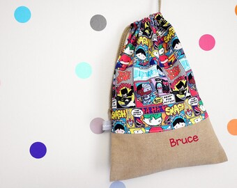 Customizable drawstring pouch - kindergarten - Super Heroes - Comics - Superman - Batman - Justice League - cuddly toy - slippers - toys