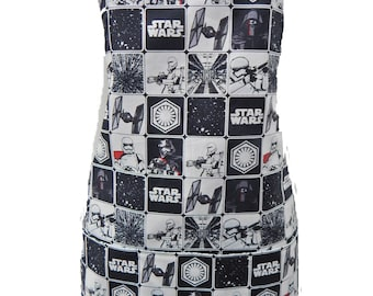 """Apron With """"STARWARS"""" Pattern, Cotton, Reversible Apron, """"2 Aprons In 1"""", Cotton, New"""