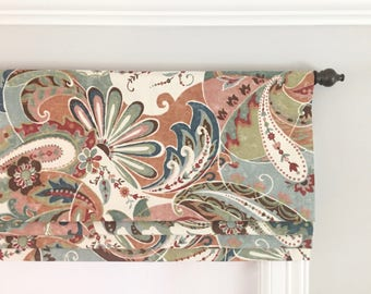 Faux (fake) Flat Roman Shade Valance. Richloom Reynard Jewel.  Other colors are available:)