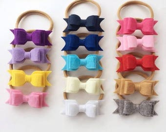 SET OF 14 Felt headbands lot 1 size fits all, comfy baby newborn girls hair, nylon hairbow, cotton bows