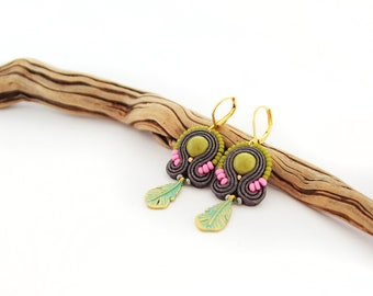 Colorful boho earrings, multicolor soutache earrings, summer earrings, colorful accessory