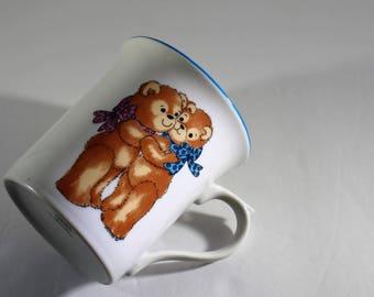 Vintage Country Teddy Bear Coffee Mug, Enesco Rigglets 1979 Bears, Friendship Mug, Teddy Bear Coffee Cup