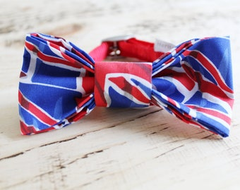 Union Jack handmade slip on dog bow tie