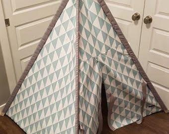 Toddler Teepee - Play Tent - White and Aqua Triangles with Grey Sleeves