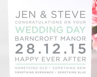 Wedding Card - Personalised Wedding Card - card for wedding - Personalized Wedding Card - card for wedding day - customised wedding card