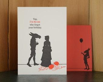 The Ass - letterpress birthday card