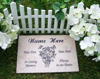 "Bouquet Garden Memorial Plaque -12x8"" Durable Weathered Italian Porcelain Tile"