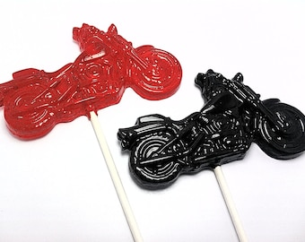 10 XLARGE MOTORCYCLE LOLLIPOPS - Hard Candy