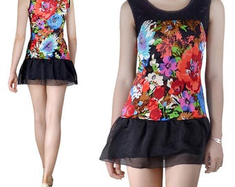 Short dress Tulle lace Jersey printed (M82)