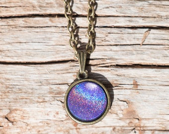 Galaxy Purple Pendant, Glitter Necklace, Magical Pendant, Glass Dome Necklace, Mystical Glittering Pendant
