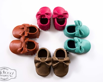 Baby Moccasins made with genuine cow leather