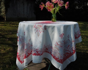 Vintage Red and Blueish Grey Floral Printed Cotton Tablecloth