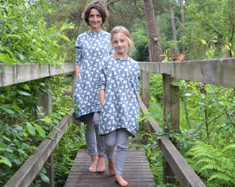 Mummy and me dresses grey bird girl matching custom dress birdie print cotton jersey smock mother and daughter mama stretch knit mothers day